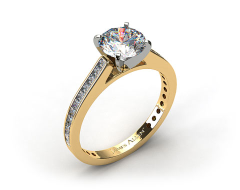 18k Yellow Gold Thin Channel Set Princess Shaped Diamond Engagement Ring