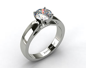 Platinum 3.8mm Rounded Cathedral Solitaire Engagement Ring