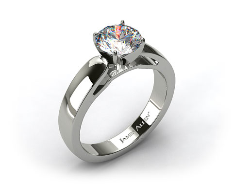 14k White Gold 3.8mm Rounded Cathedral Solitaire Engagement Ring