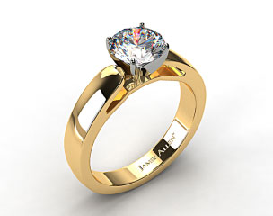 18k Yellow Gold 3.8mm Rounded Cathedral Solitaire Engagement Ring