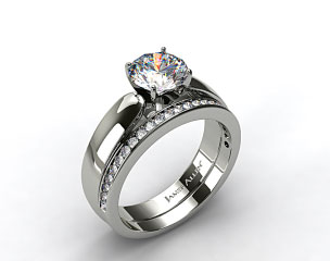 Platinum 3.8mm Rounded Cathedral Solitaire Engagement Ring & .28ct Channel Set Wedding Band