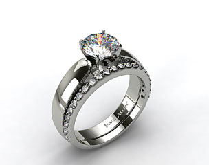 Platinum 3.8mm Rounded Cathedral Solitaire Engagement Ring & Common Prong Wedding Ring