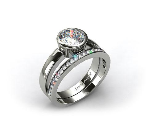 Platinum Bezel Set Round Diamond Solitaire Ring & .28ct Channel Set Wedding Band