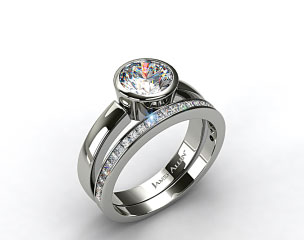 Platinum Bezel Set Round Diamond Solitaire Ring & .63ct Channel Set Wedding Ring