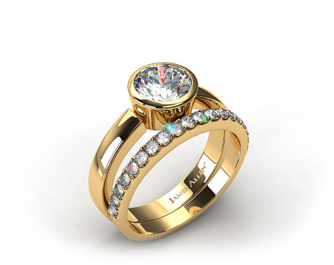 18K Yellow Gold Bezel Set Round Diamond Solitaire Ring & .57ctw Common Prong Wedding Ring