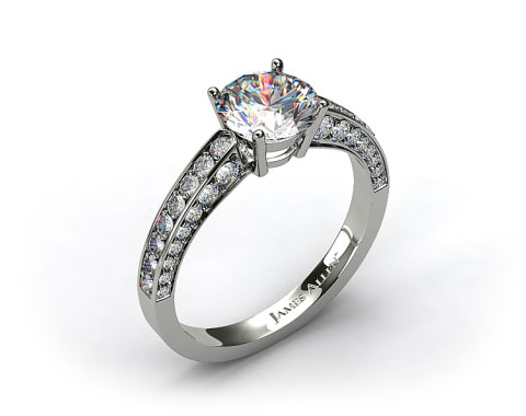 14k White Gold Three-Sided Pave Set Diamond Engagement Ring
