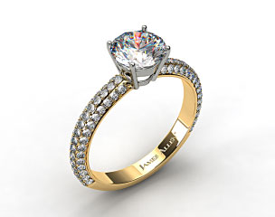 18k Yellow Gold 0.52ct Three Row Pave Set Rounded Diamond Engagement Ring