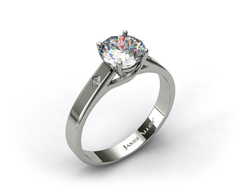 Platinum Cross Prong Diamond Accent Solitaire Ring