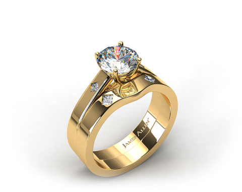 18K Yellow Gold Cross Prong Diamond Accent Solitaire Ring & 0.06ct Diamond Accent Wedding Band