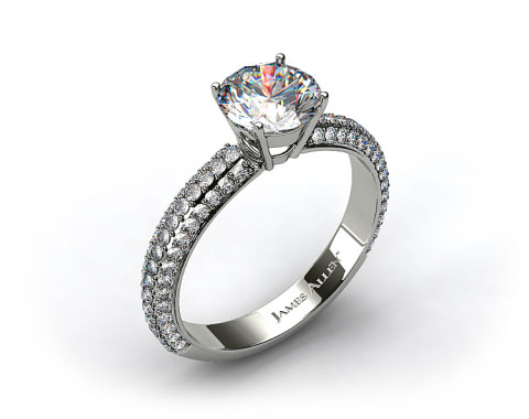 Platinum Three Row 0.96ct Pave Diamond Engagement Ring