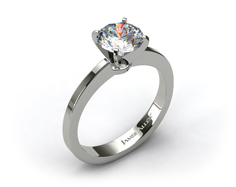 18k White Gold Cathedral Reverse Tapered Diamond Engagement Ring