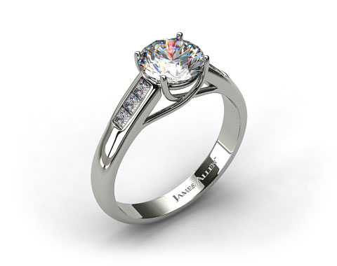 14k White Gold Cross Prong Princess Shaped Diamond Engagement Ring