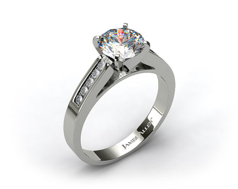 18k White Gold 0.13ctw Channel Set Round Shaped Diamond Engagement Ring