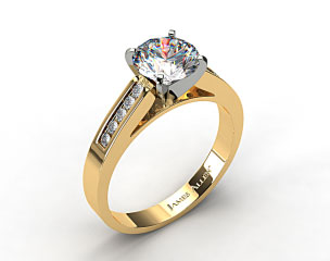 18k Yellow Gold 0.13ctw Channel Set Round Shaped Diamond Engagement Ring