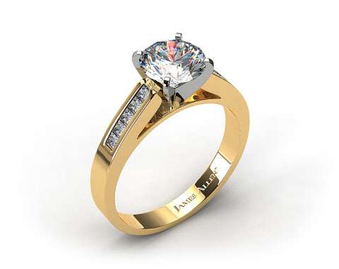 18k Yellow Gold 0.25ct Channel Set Princess Shaped Diamond Engagement Ring
