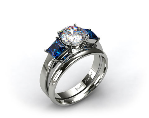 18k White Gold Three Stone Princess Shaped Blue Sapphire Engagement Ring & 2mm Plain Wedding Band
