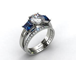 Platinum Three Stone Princess Shaped Blue Sapphire Engagement Ring & 0.26ct Pave Eternity Band