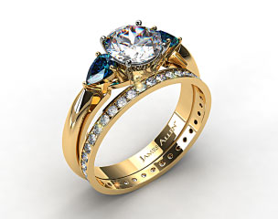 18k Yellow Gold Three Stone Pear Shaped Blue Sapphire Engagement Ring & 0.26ct Pave Eternity Band