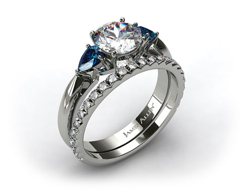 18k White Gold Three Stone Pear Shaped Blue Sapphire Engagement Ring & French Cut Pave Wedding Band