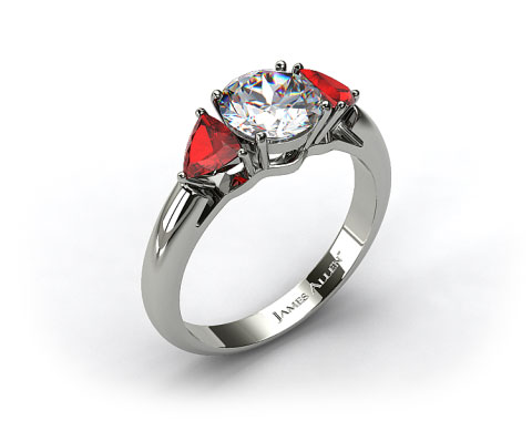 Platinum Three Stone Trillion Shaped Ruby Engagement Ring