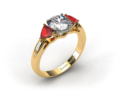 18k Yellow Gold Three Stone Trillion Shaped Ruby Engagement Ring
