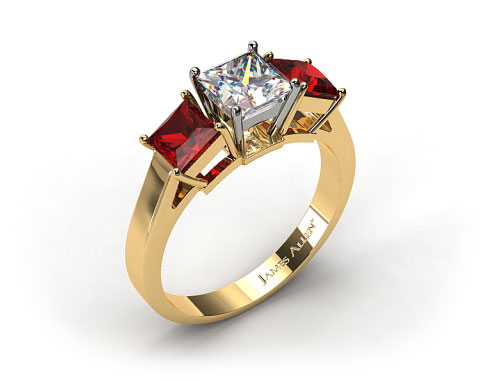 18k Yellow Gold Three Stone Princess Shaped Ruby Engagement Ring