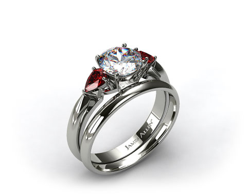 18k White Gold 3-Stone Pear Ruby Engagement Ring & 2mm Womens Plain Wedding Band