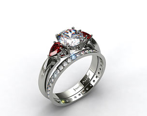 Platinum 3-Stone Pear Ruby Engagement Ring & 0.26ct Pave Eternity Diamond Band