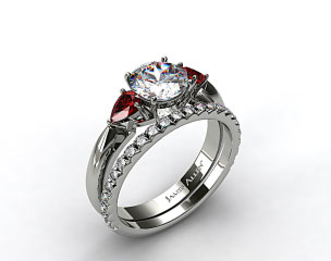 Platinum 3-Stone Pear Ruby Engagement Ring & French Cut Pave Diamond Wedding Ring