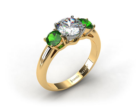 18k Yellow Gold Three Stone Round Emerald Engagement Ring