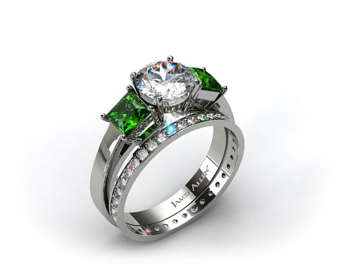 18k White Gold 3-Stone Carre Cut Emerald Engagement Ring & 0.26ct Pave Eternity Band