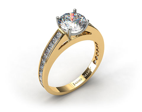 18k Yellow Gold Channel Set Princess Shaped Diamond Engagement Ring