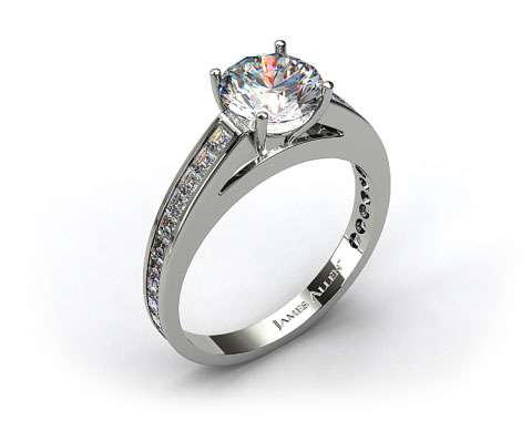 18k White Gold Channel Set Carre Shaped Diamond Engagement Ring