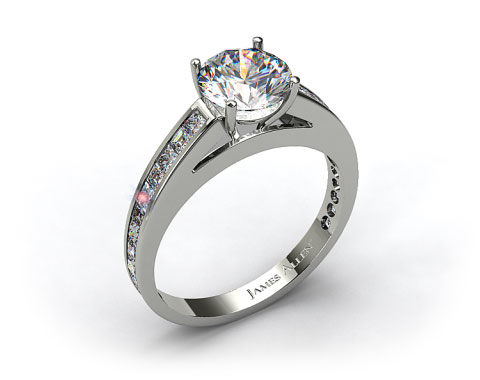 18k White Gold Channel Set Carre and Princess Shaped Diamond Engagement Ring