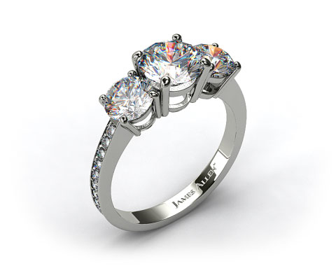 14k White Gold Three Stone Round and Pave Set Diamond Engagement Ring