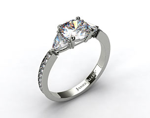 18K White Gold Three Stone Trillion and Pave Set Diamond Engagement Ring