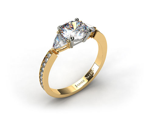 18kt Yellow Gold Three Stone Trillion and Pave Set Diamond Engagement Ring