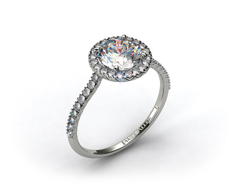 18k White Gold 0.29ctw Halo Pave Set Diamond Engagement Ring