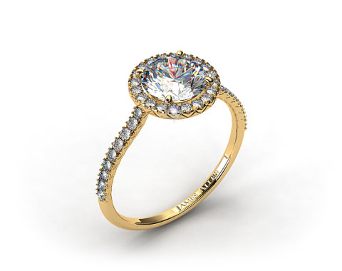 18k Yellow Gold 0.29ctw Halo Pave Set Diamond Engagement Ring