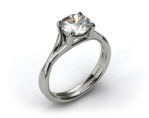 14k White Gold Twisted Shank Contemporary Solitaire