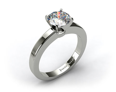 Platinum Flat Edged Diamond Solitaire Engagement Ring
