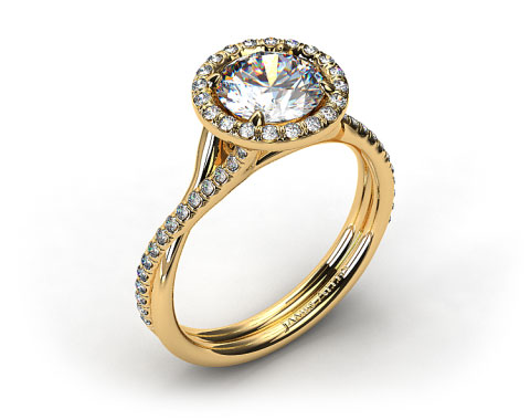 14k Yellow Gold Pave Halo and Twisted Shank Solitaire