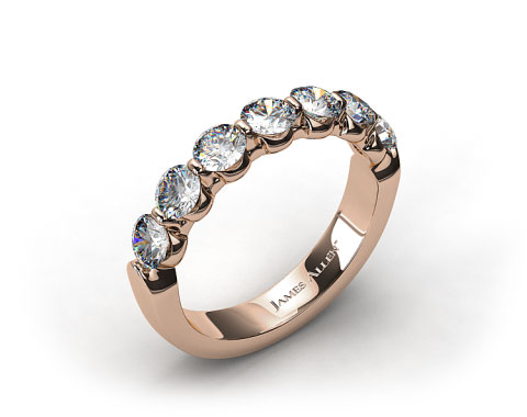 18k Rose Gold 0.50ctw Share Prong Diamond Anniversary Ring