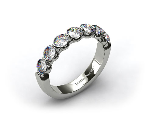 Platinum  1.00ctw Share Prong Diamond Anniversary Ring