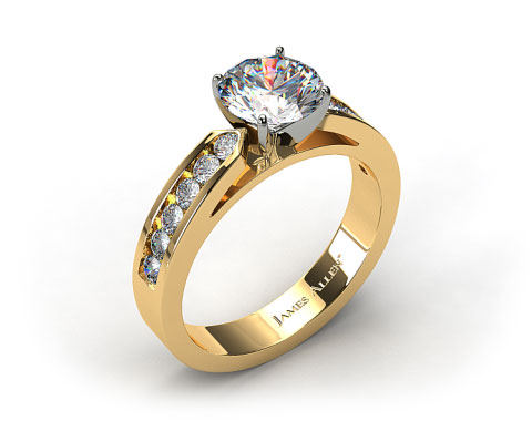 18k Yellow Gold Cathedral Channel Set Diamond Engagement Ring