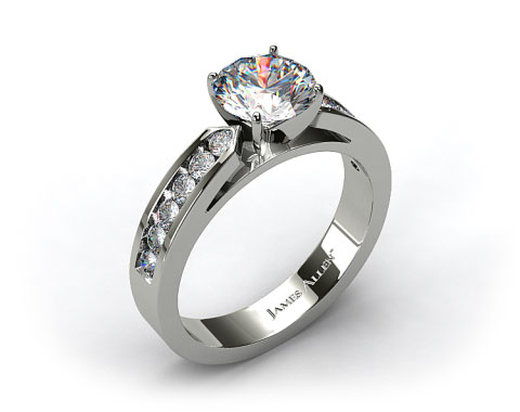 14k White Gold Cathedral Channel Set Diamond Engagement Ring