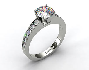 14k White Gold Round Raised Pave Diamond Engagement Ring