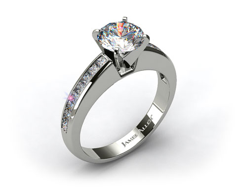 18k White Gold 0.60ct Channel Set Princess Shaped Engagement Ring