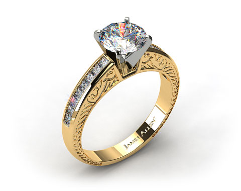 18k Yellow Gold Engraved Princess Shaped Channel Set Diamond Engagement Ring