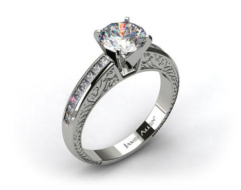 18k White Gold Engraved Princess Shaped Channel Set Diamond Engagement Ring